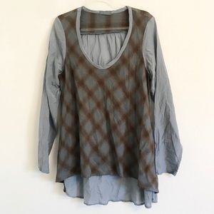 CP Shades blue plaid tunic top long sleeve Large